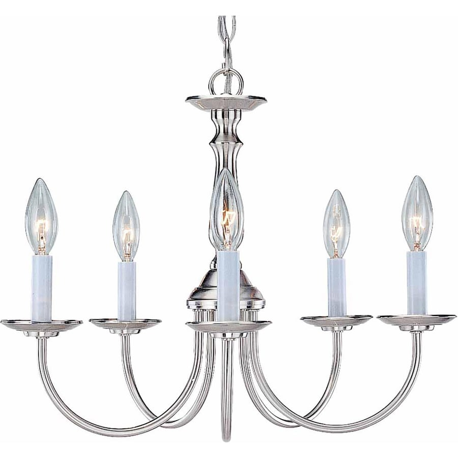 Sula 18-in 5-Light Brushed Nickel Candle Chandelier