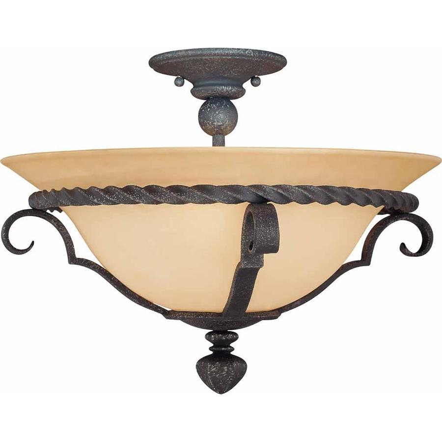Tabor 16-in W Antique Iron Textured Semi-Flush Mount Light
