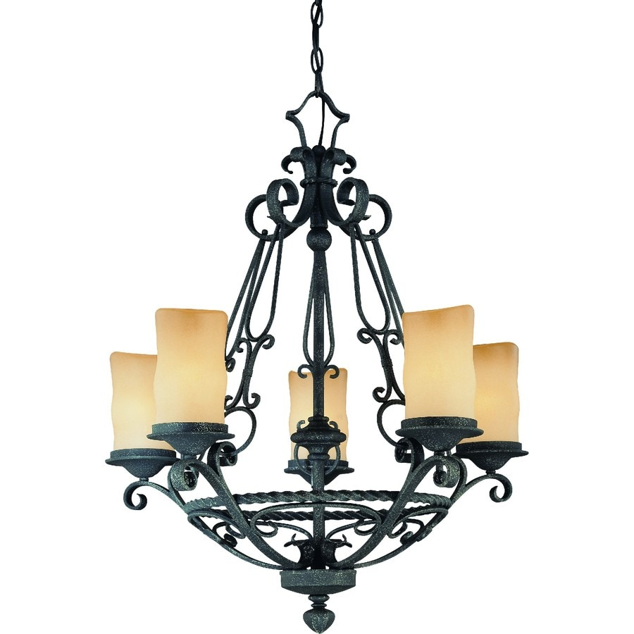 Tabor 27-in 5-Light Antique Iron Tinted Glass Candle Chandelier