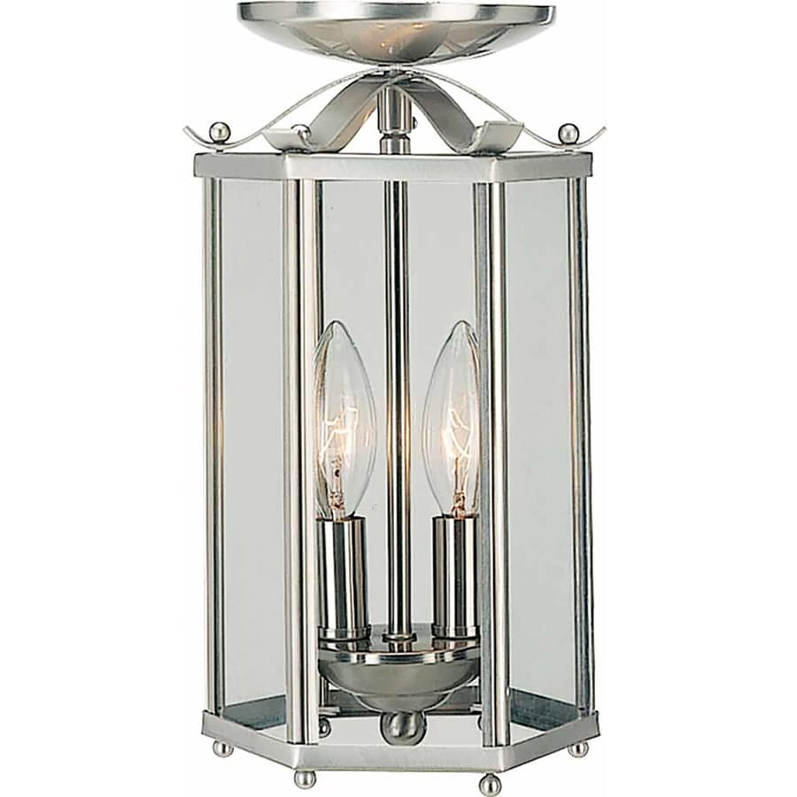Forberg 6.75-in W Brushed Nickel Clear Glass Semi-Flush Mount Light