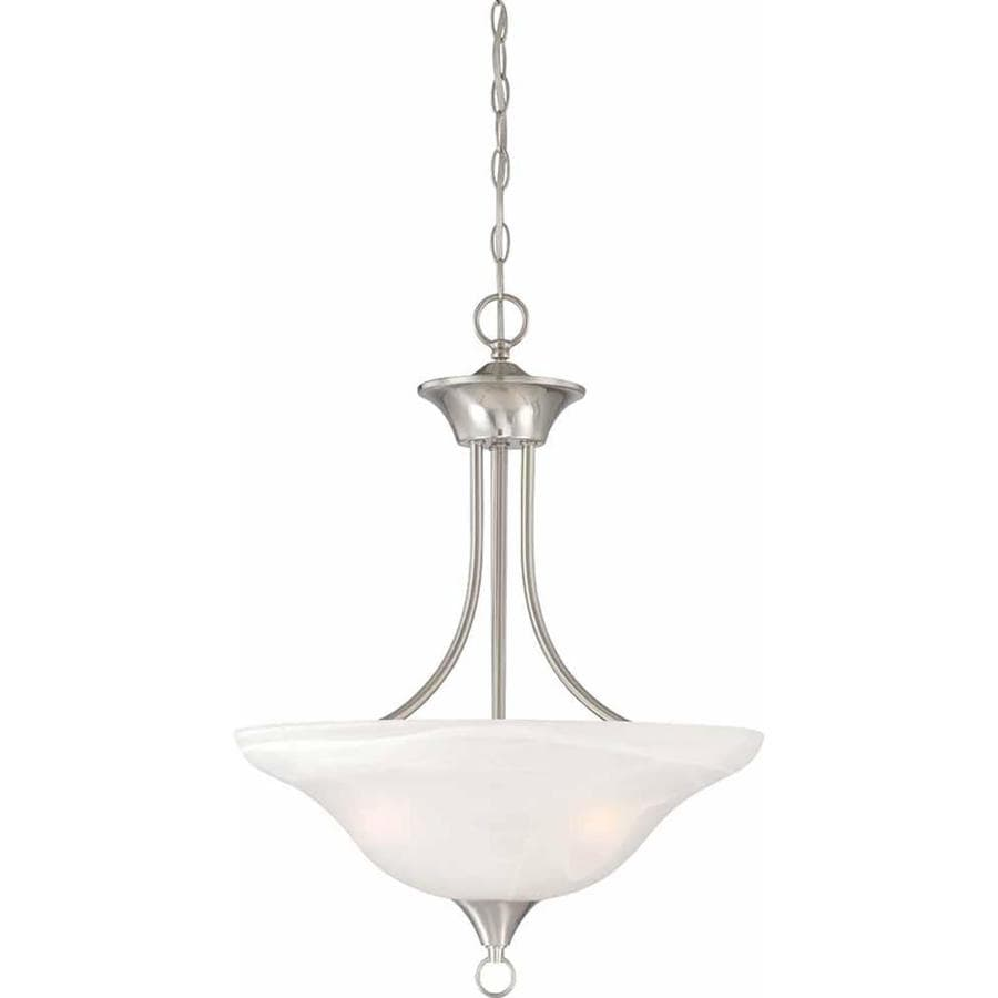 Oklee 18-in Brushed Nickel Single Alabaster Glass Pendant