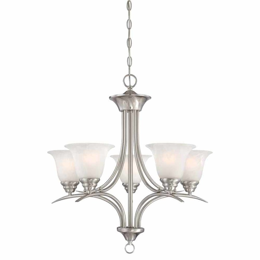 Chama 23.75-in 5-Light Brushed Nickel Alabaster Glass Candle Chandelier