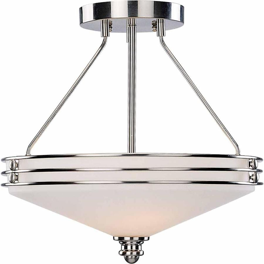 Arvilla 16-in W Brushed Nickel Alabaster Glass Semi-Flush Mount Light