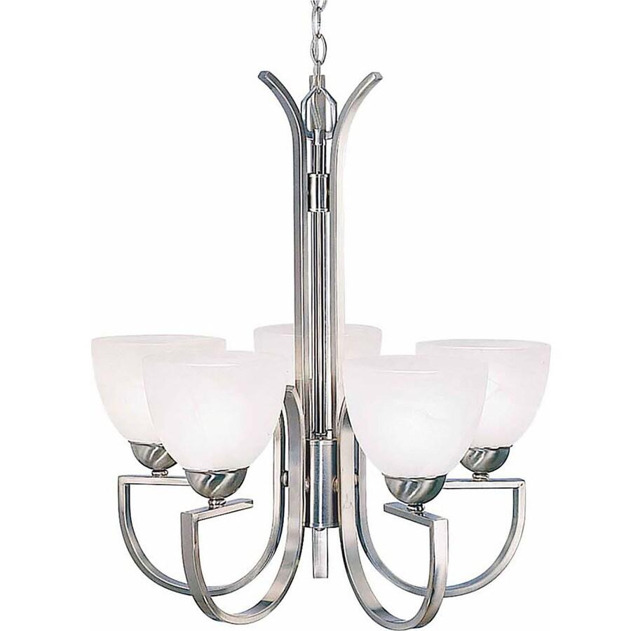 Lovilia 22.75-in 5-Light Brushed Nickel Alabaster Glass Candle Chandelier