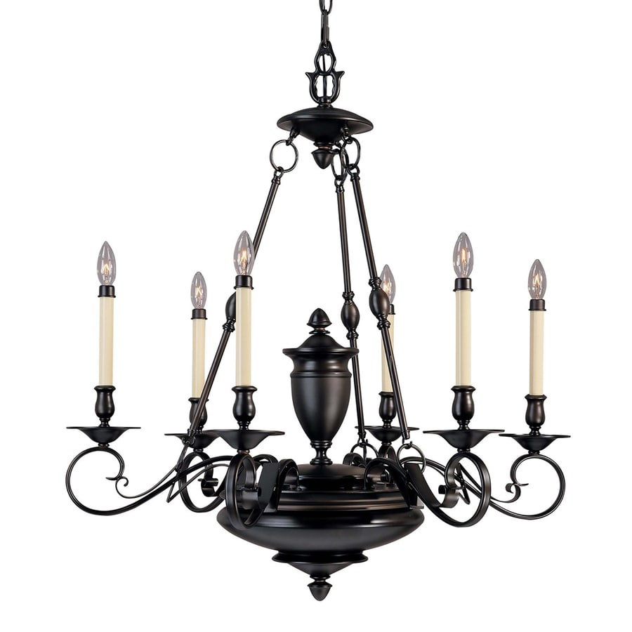 Tabor 32-in 6-Light Foundry Bronze Candle Chandelier