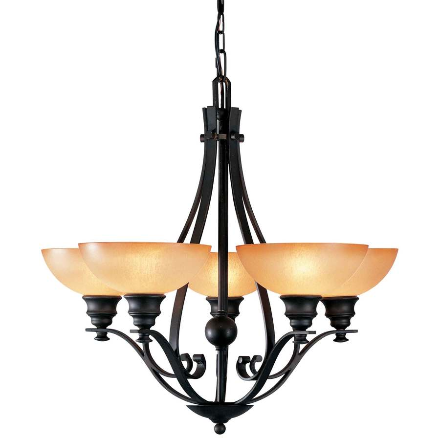 Goodell 28-in 5-Light Foundry Bronze Tinted Glass Candle Chandelier