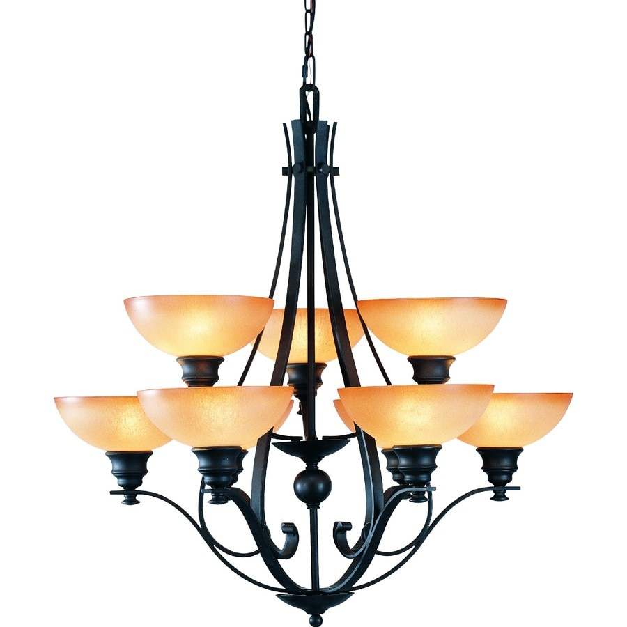 Goodell 32-in 9-Light Foundry Bronze Tinted Glass Tiered Chandelier