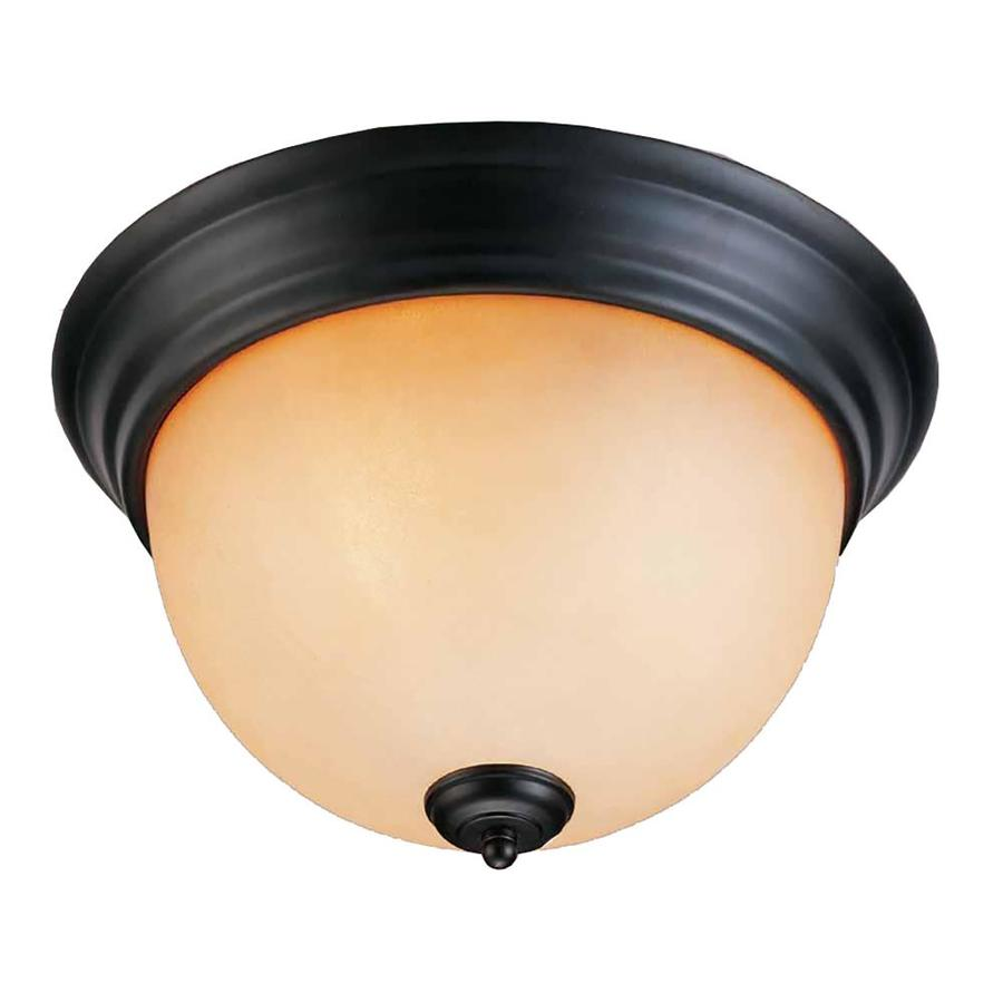Goodell 13-in W Foundry Bronze Standard Flush Mount Light