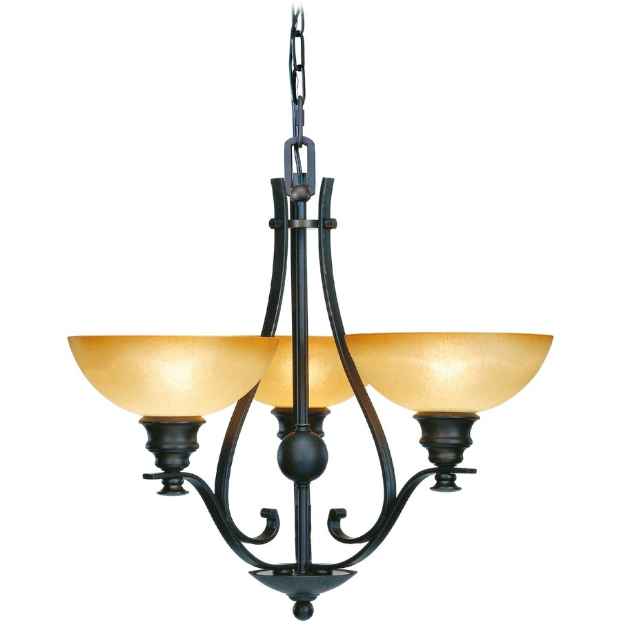 Goodell 24-in 3-Light Foundry Bronze Tinted Glass Candle Chandelier