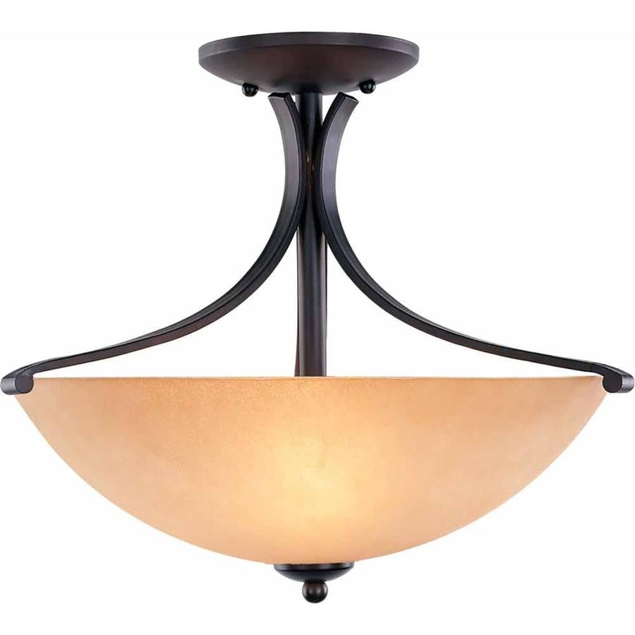 Goodell 15.25-in W Foundry Bronze Textured Semi-Flush Mount Light
