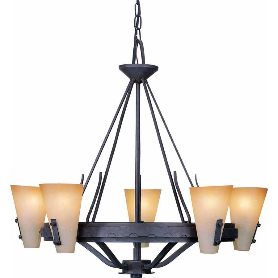 Marianna 28-in 5-Light Frontier Iron Tinted Glass Candle Chandelier