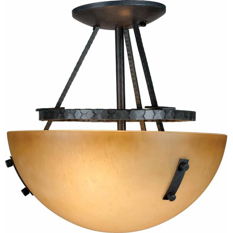 Marianna 11.75-in W Frontier Iron Textured Semi-Flush Mount Light