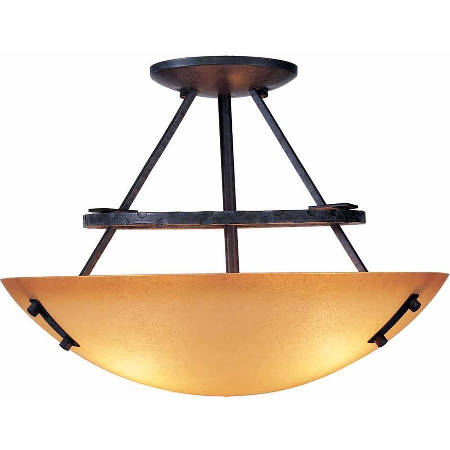 Marianna 15-in W Frontier Iron Textured Semi-Flush Mount Light