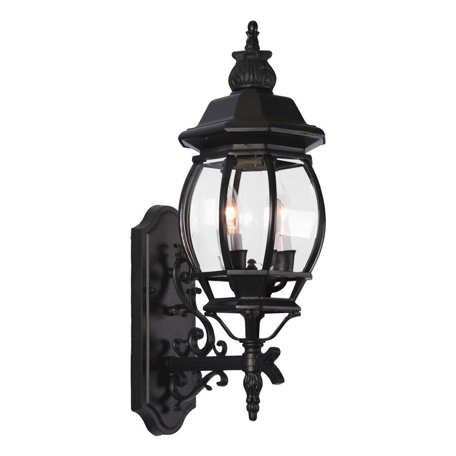 Hughson 23.5-in H Black Outdoor Wall Light