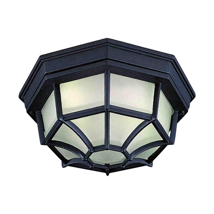Topton 9.25-in W Black Outdoor Flush-Mount Light