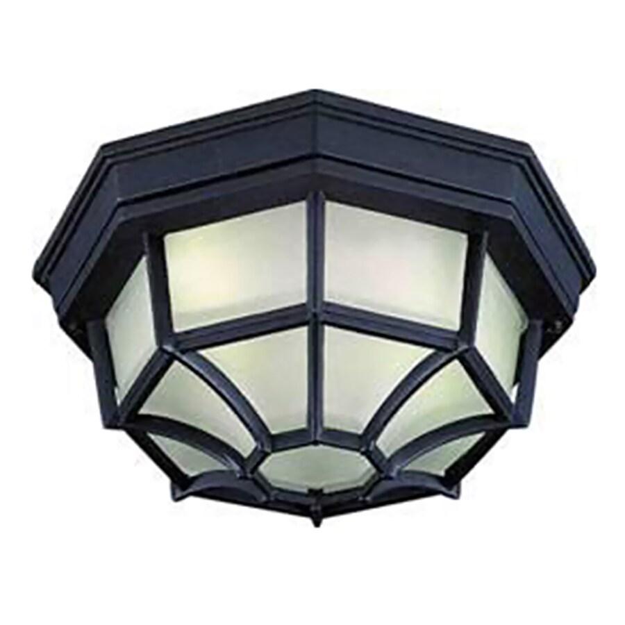 Topton 11.25-in W Black Outdoor Flush-Mount Light