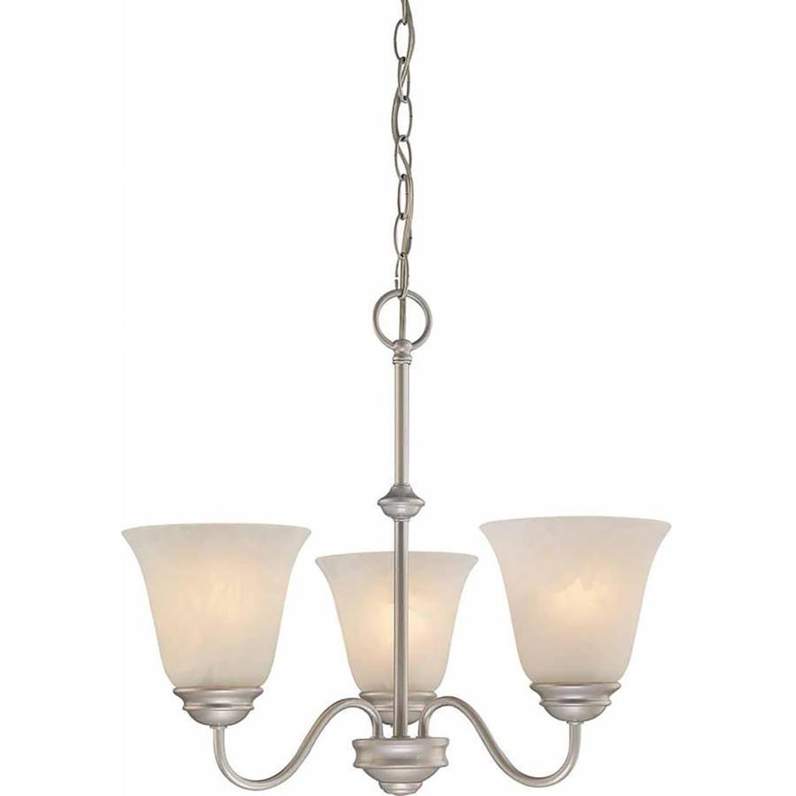 Elkmont 18.75-in 3-Light Nickel Alabaster Glass Candle Chandelier