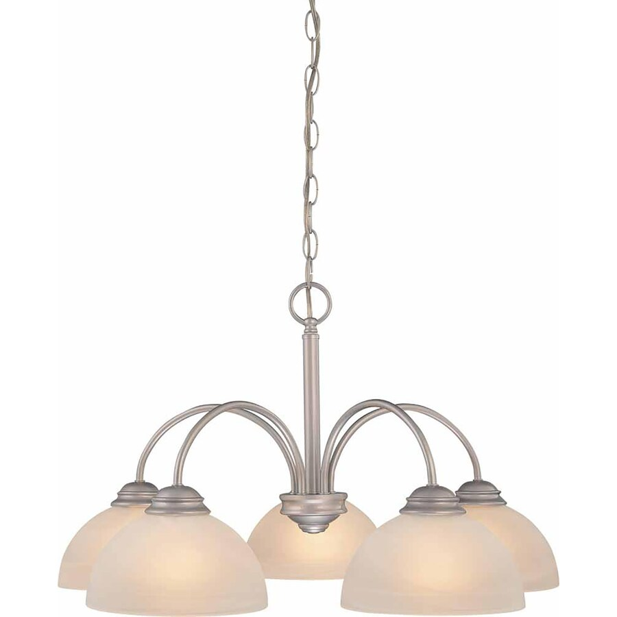 Repton 25.5-in 5-Light Nickel Alabaster Glass Candle Chandelier