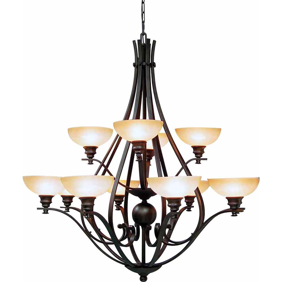 Goodell 48-in 12-Light Foundry Bronze Tinted Glass Tiered Chandelier