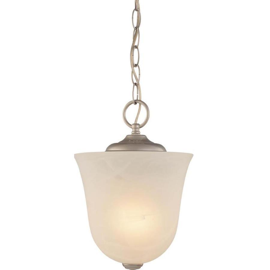Mumford 8.25-in W Nickel Alabaster Glass Semi-Flush Mount Light