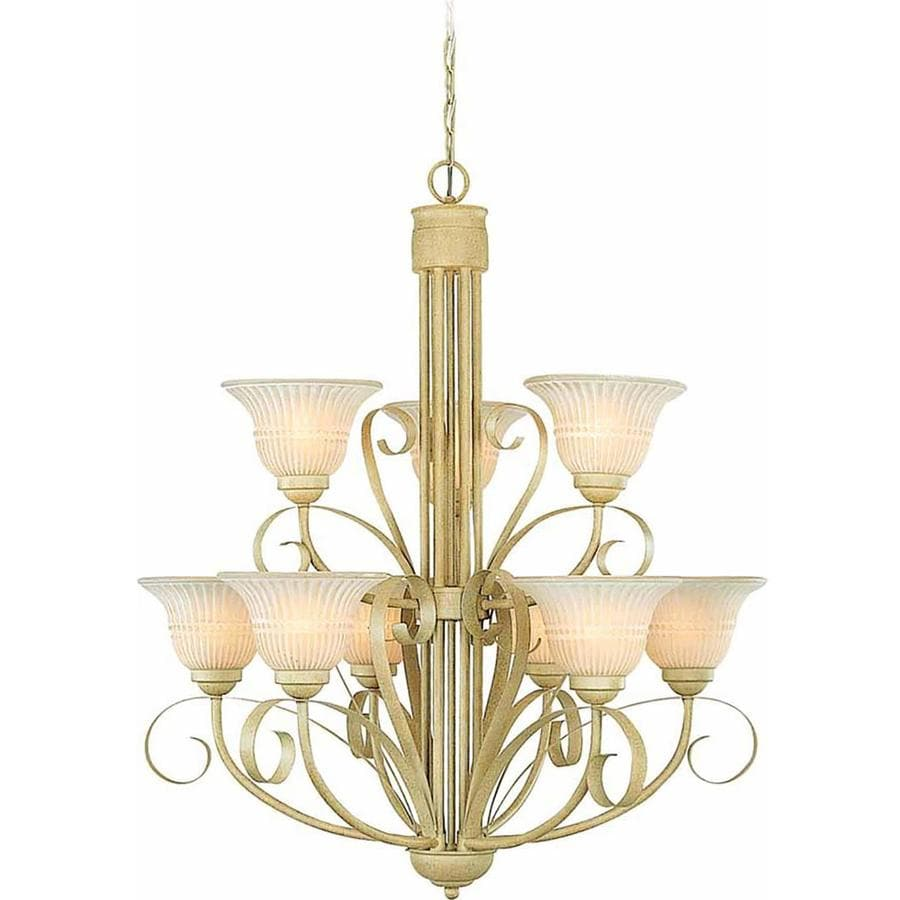 Cohoes 29.25-in 9-Light Golden Coral Scavo Glass Tiered Chandelier