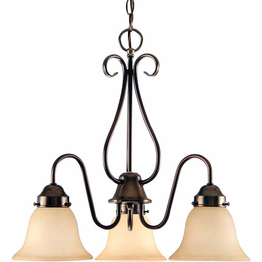 Dacono 20.5-in 3-Light Florence Bronze Tinted Glass Candle Chandelier