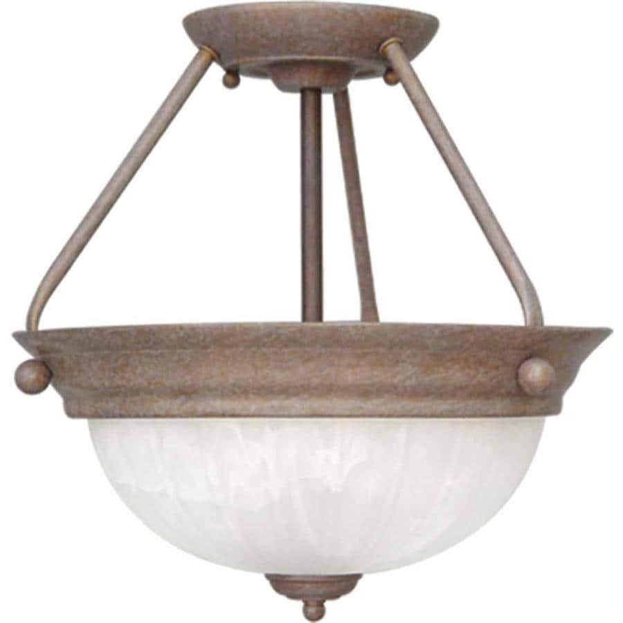 Alpena 13-in W Prairie Rock Alabaster Glass Semi-Flush Mount Light