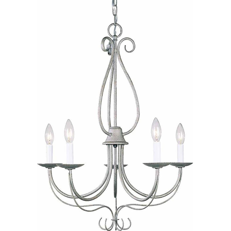 Auxier 25-in 5-Light Platinum Rust Candle Chandelier