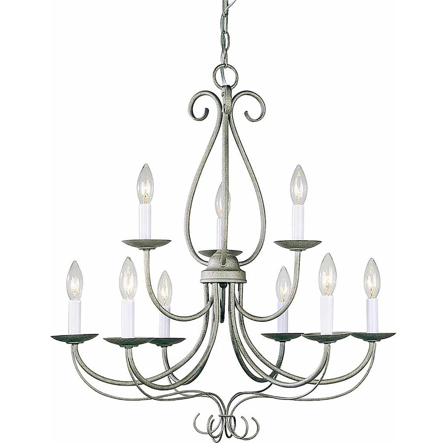 Auxier 25-in 9-Light Platinum Rust Tiered Chandelier