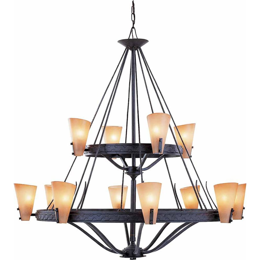 Marianna 44.25-in 12-Light Frontier Iron Tinted Glass Tiered Chandelier