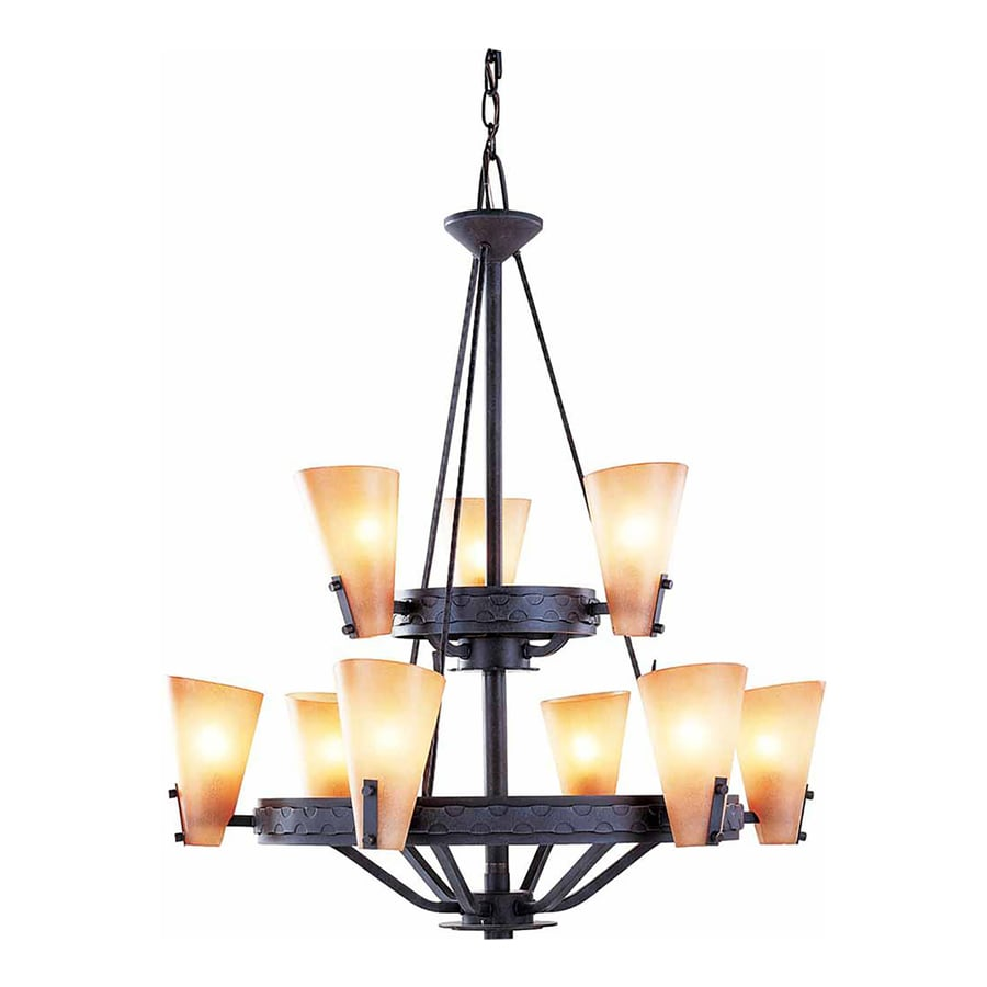 Marianna 28.75-in 9-Light Frontier Iron Tinted Glass Tiered Chandelier