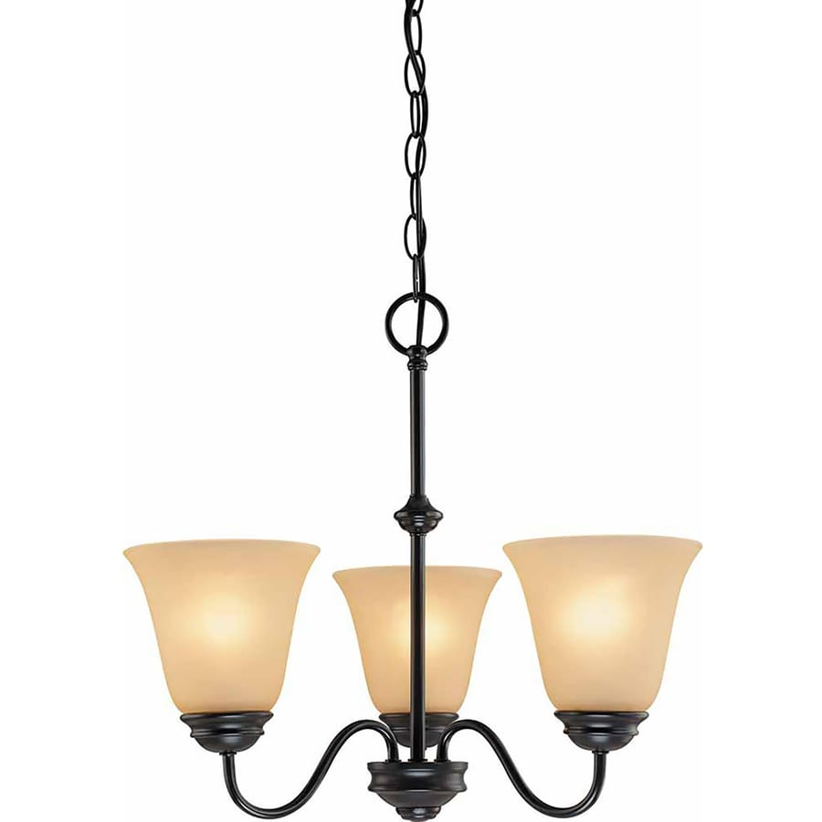 Belton 18.75-in 3-Light Antique Bronze Tinted Glass Candle Chandelier