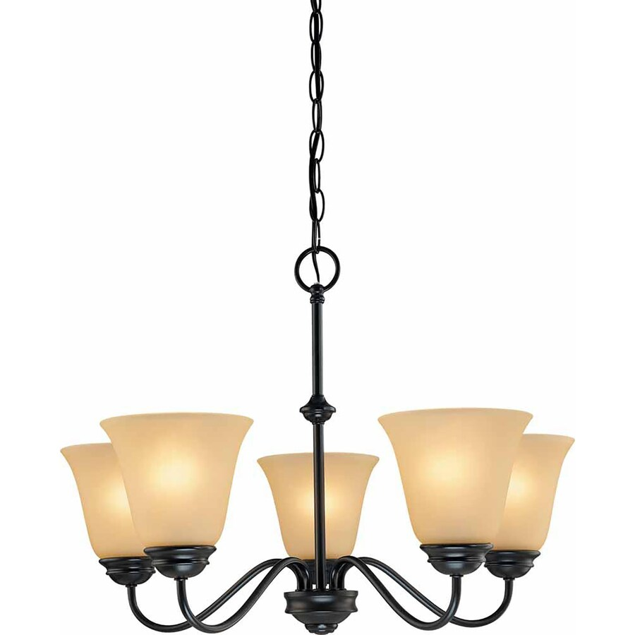 Belton 23.5-in 5-Light Antique Bronze Tinted Glass Candle Chandelier