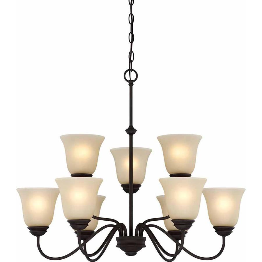 Belton 30-in 9-Light Antique Bronze Tinted Glass Tiered Chandelier