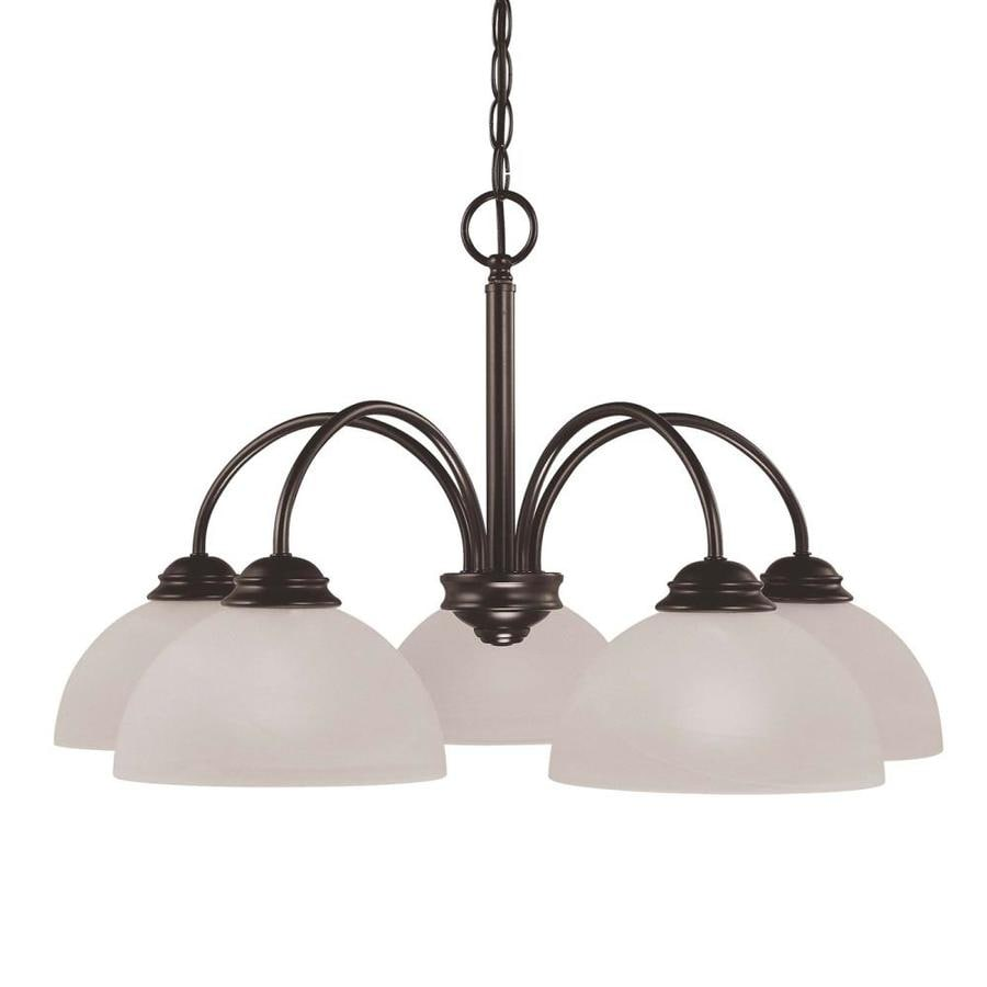 Repton 25.5-in 5-Light Antique Bronze Alabaster Glass Candle Chandelier