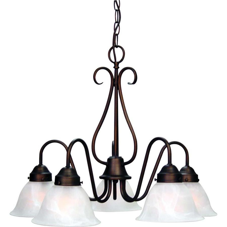 Meriden 23.5-in 5-Light Antique Bronze Alabaster Glass Candle Chandelier