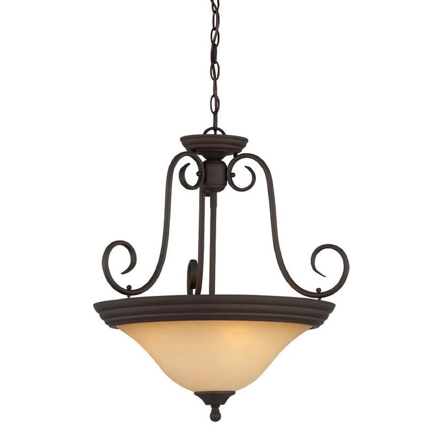 Storrs 20.5-in W Antique Bronze Textured Semi-Flush Mount Light