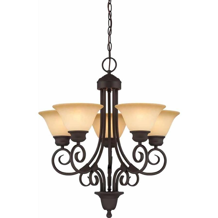 Leadore 24-in 5-Light Antique Bronze Tinted Glass Candle Chandelier