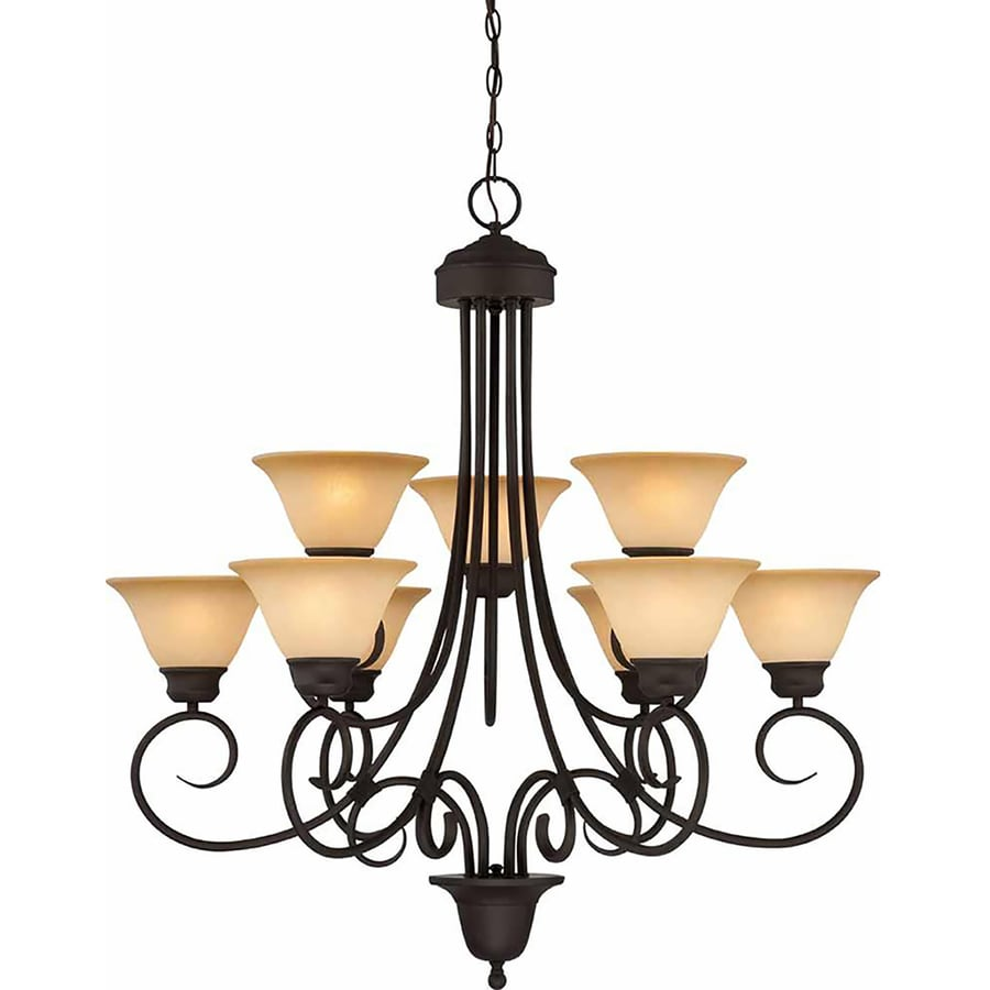 Leadore 36-in 9-Light Antique Bronze Tinted Glass Tiered Chandelier