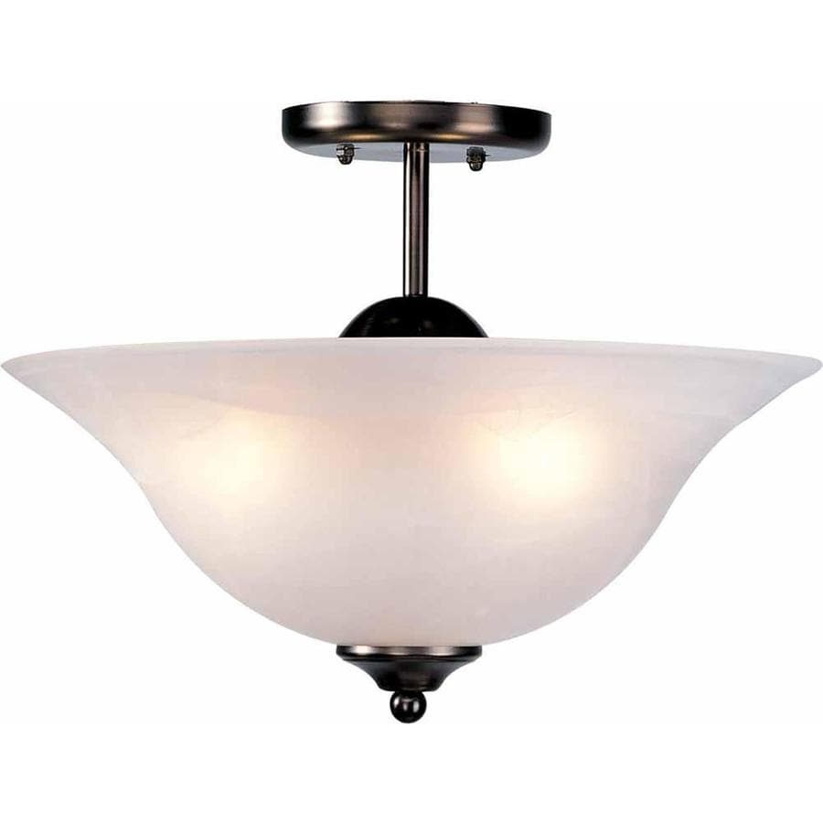 Wolin 12-in W Antique Bronze Alabaster Glass Semi-Flush Mount Light