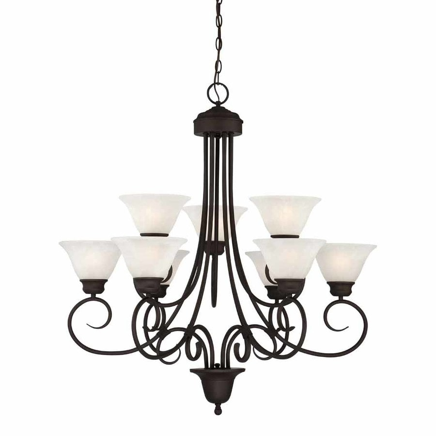Lanett 36-in 9-Light Antique Bronze Alabaster Glass Tiered Chandelier