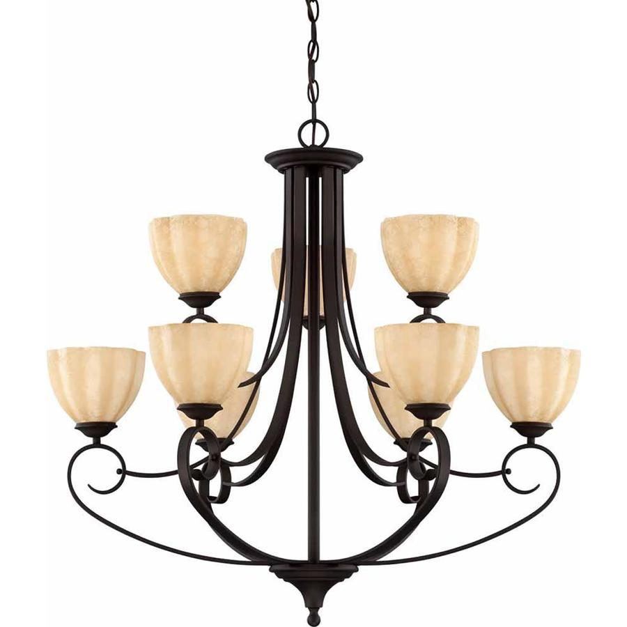 Ettrick 33-in 9-Light Antique Bronze Tinted Glass Tiered Chandelier