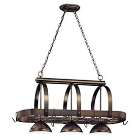 Volume International Cale 16 25 In W 3 Light Antique Bronze Lighted Pot Rack With