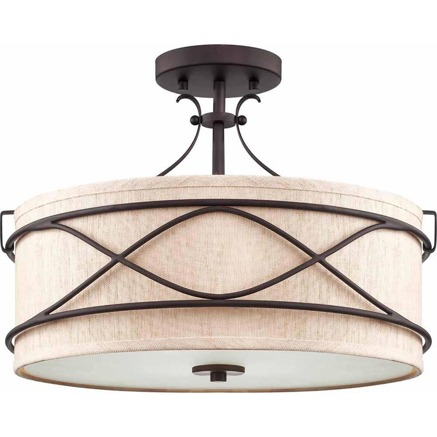 Ettrick 16-in W Antique Bronze Fabric Semi-Flush Mount Light