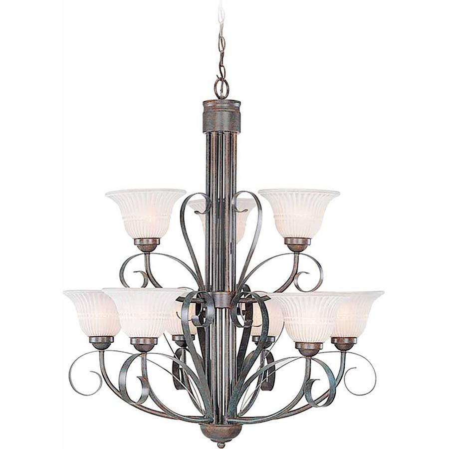 Cohoes 29.25-in 9-Light Imperial Bronze Scavo Glass Tiered Chandelier