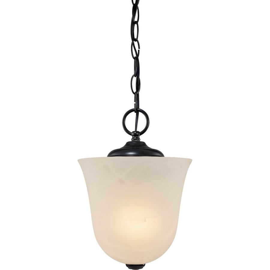 Debois 8.25-in W Antique Bronze Alabaster Glass Semi-Flush Mount Light