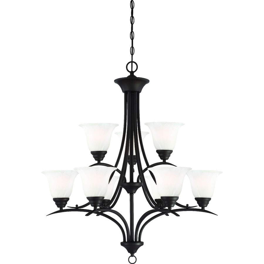 Chama 30-in 9-Light Antique Bronze Alabaster Glass Tiered Chandelier