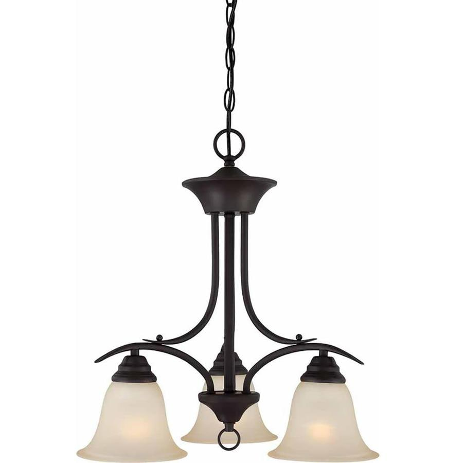 Chama 19-in 3-Light Antique Bronze Tinted Glass Candle Chandelier