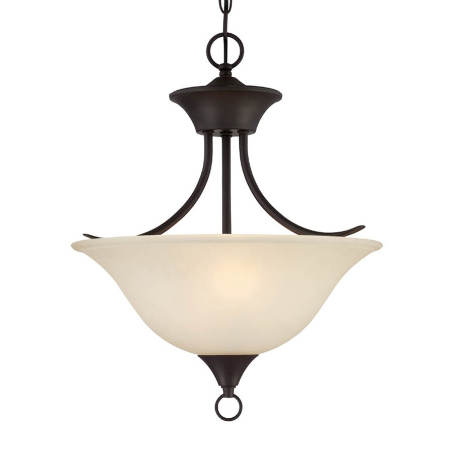 Keiffer 16.25-in W Antique Bronze Tea-stained Glass Semi-Flush Mount Light