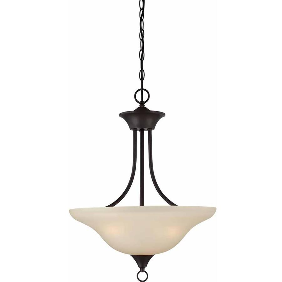 Keiffer 18-in Antique Bronze Single Tinted Glass Pendant